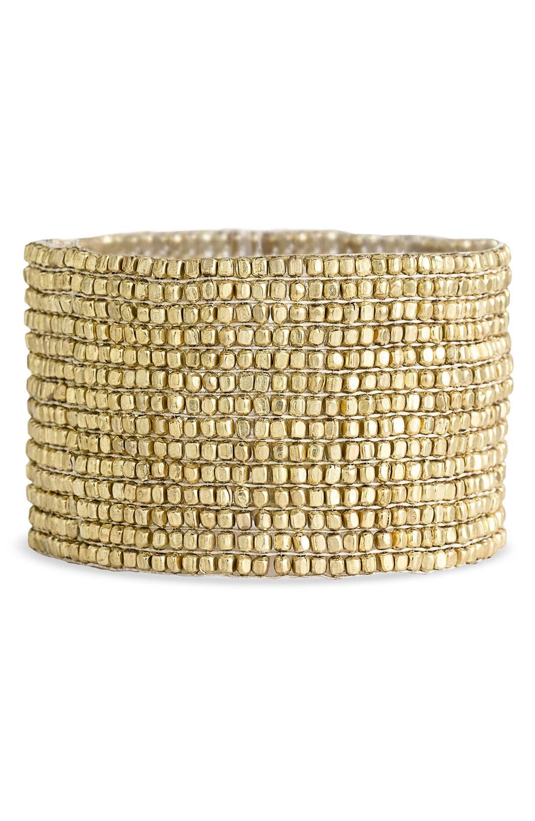 Alternate Image 1 Selected - Stephan & Co. Antique Gold Statement Stretch Bracelet