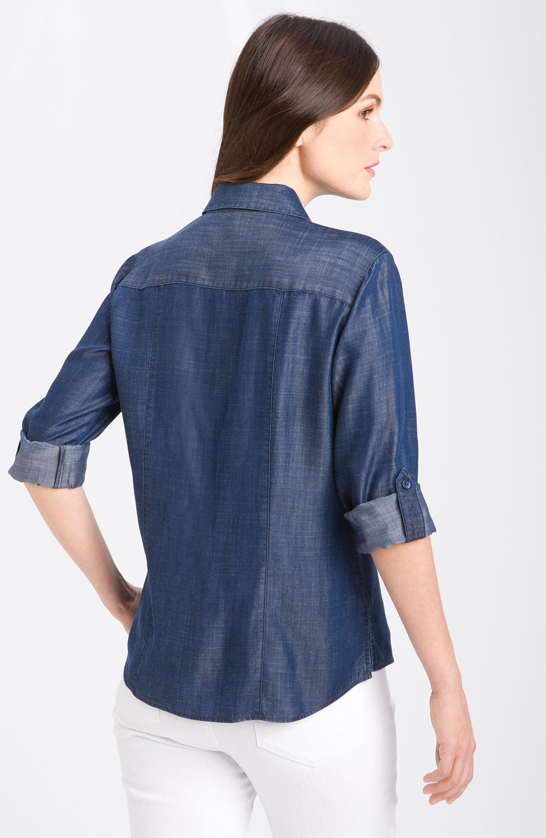 Alternate Image 2  - Foxcroft Fitted Long Sleeve Denim Shirt