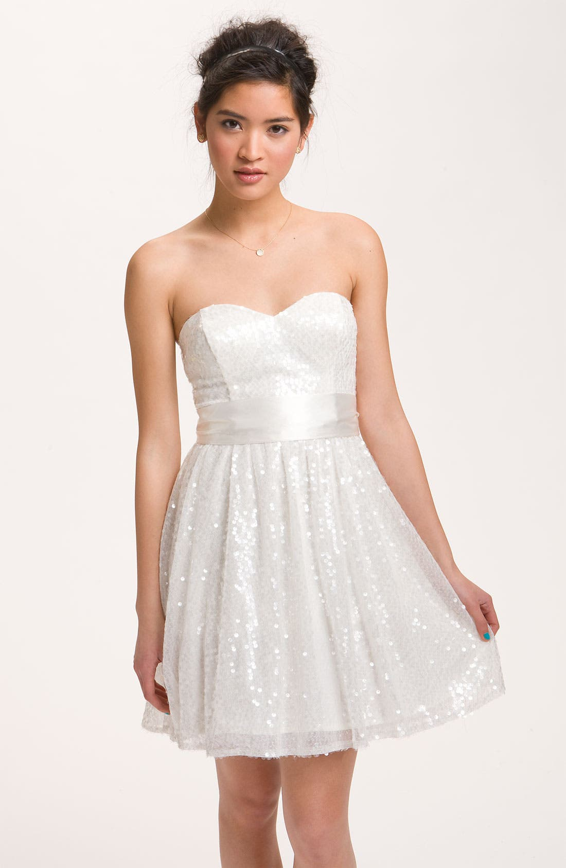 Alternate Image 1 Selected - Way-In Sequined Party Dress (Juniors)