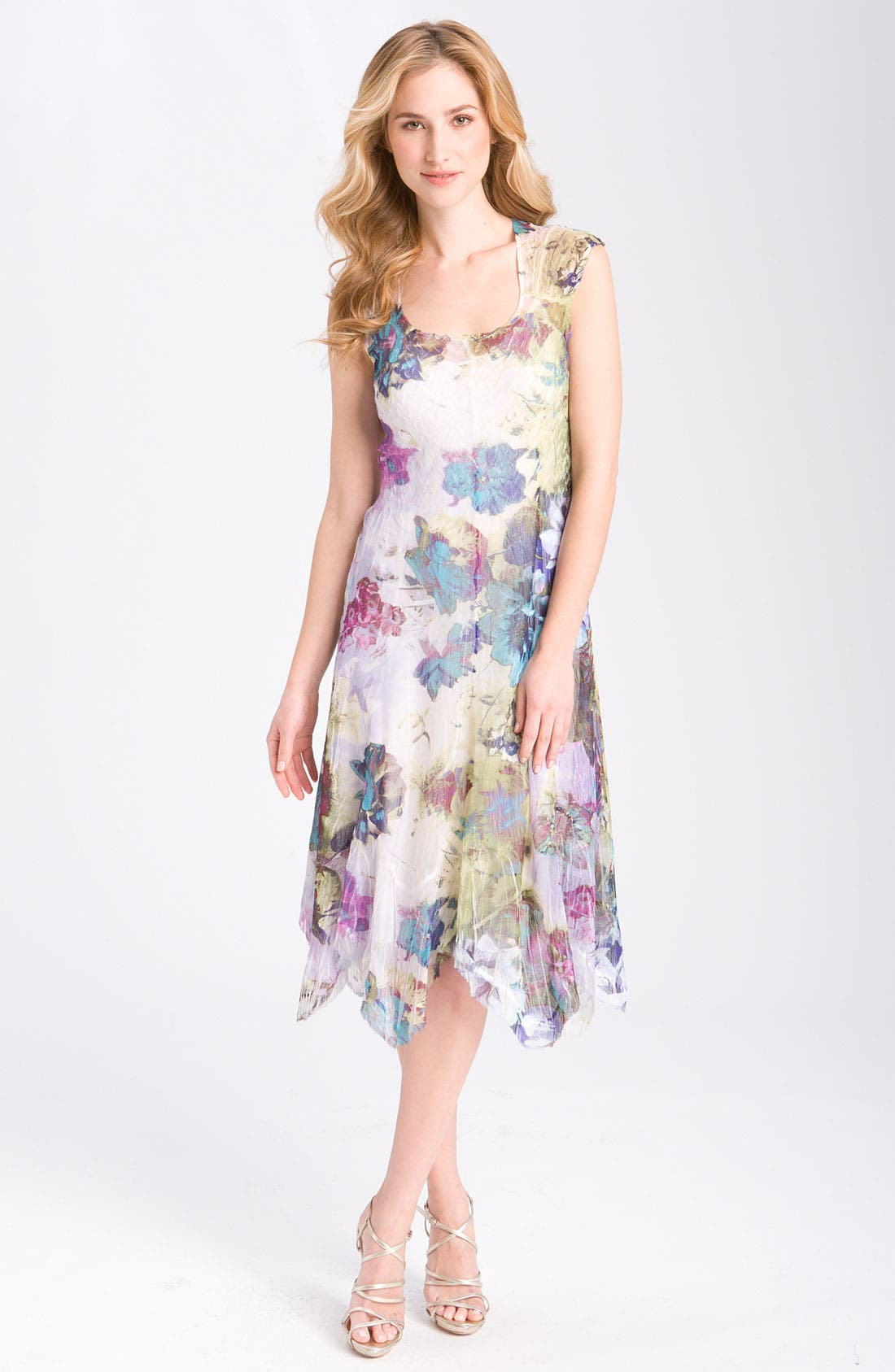 Main Image - Komarov Floral Print Cap Sleeve Pleated Dress