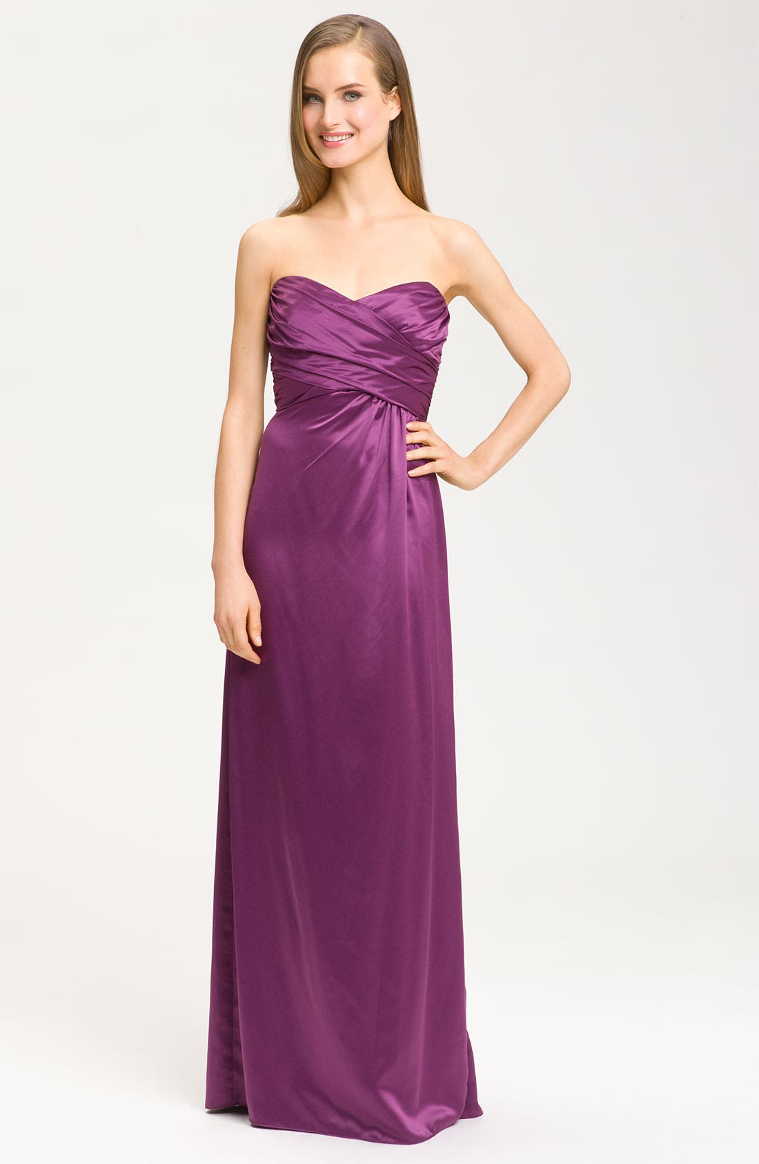 Alternate Image 1 Selected - Amsale Sweetheart Neckline Cross Ruched Satin Gown
