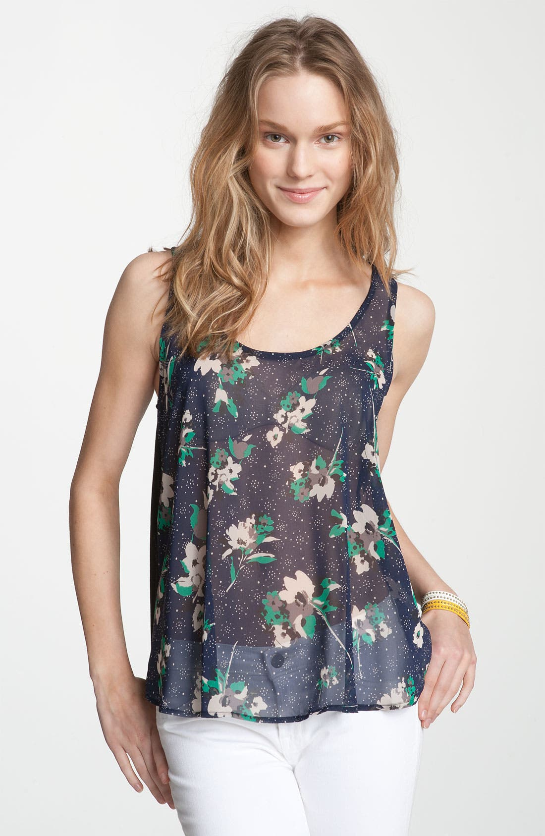 Alternate Image 1 Selected - Lush Lace Print Chiffon Tank (Juniors)