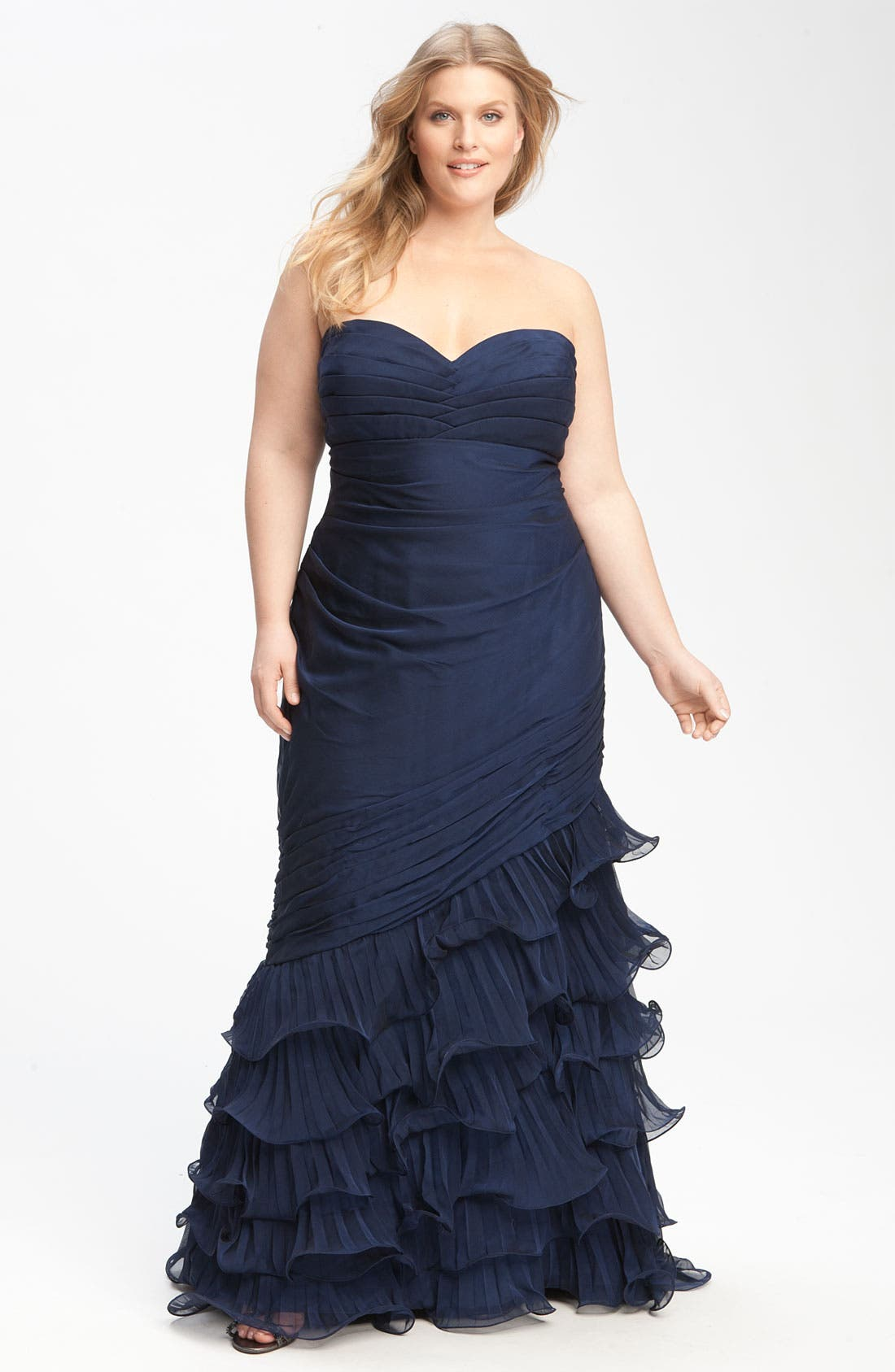 Alternate Image 1 Selected - Dalia MacPhee Strapless Ruffle Chiffon Gown (Juniors Plus)