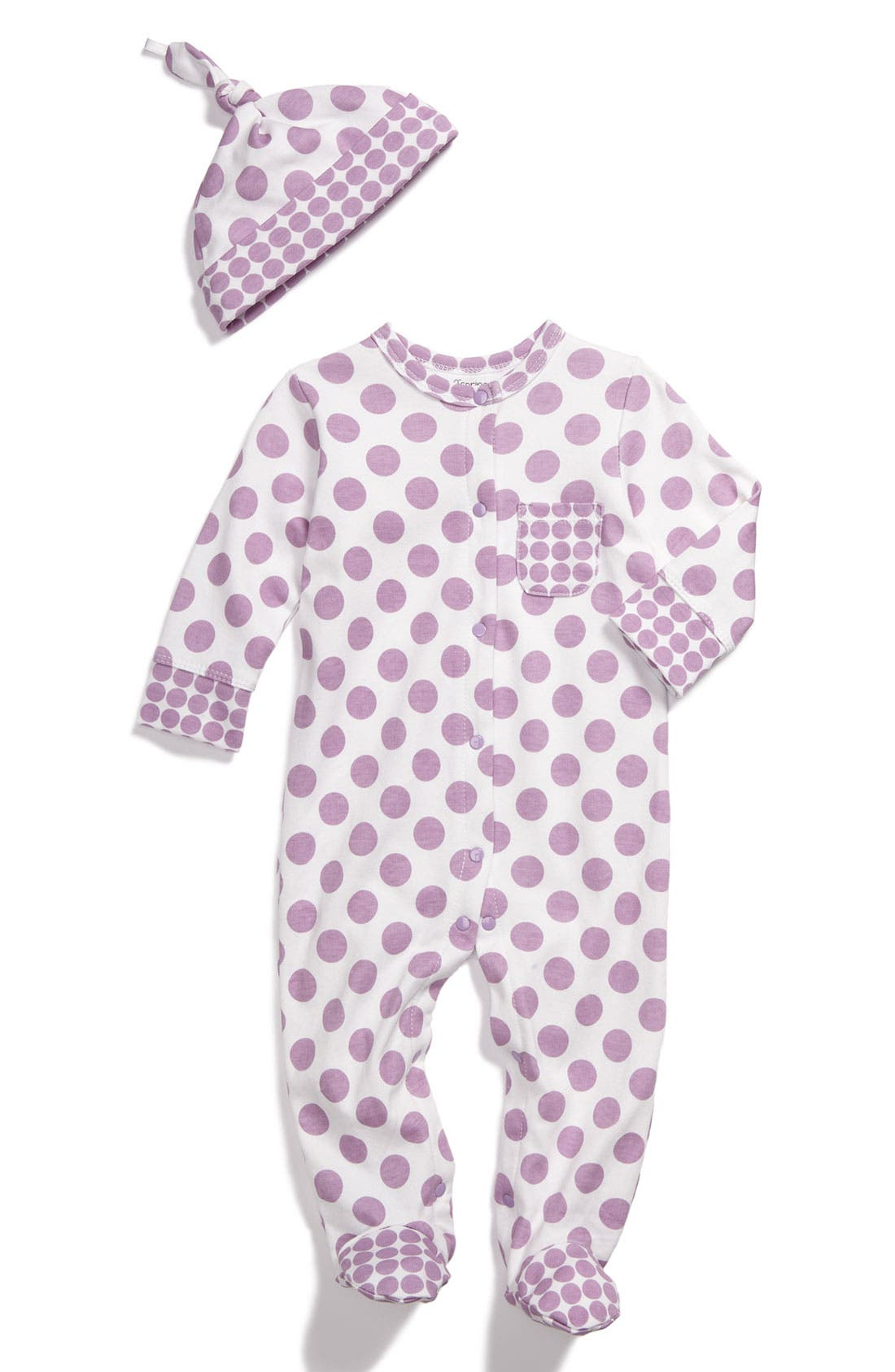 Main Image - Offspring Dot Footie & Hat Set (Infant)