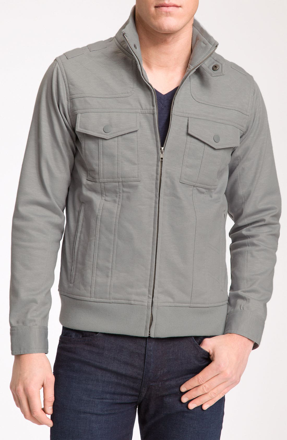 Main Image - Kane & Unke Trim Fit Coated Moto Jacket