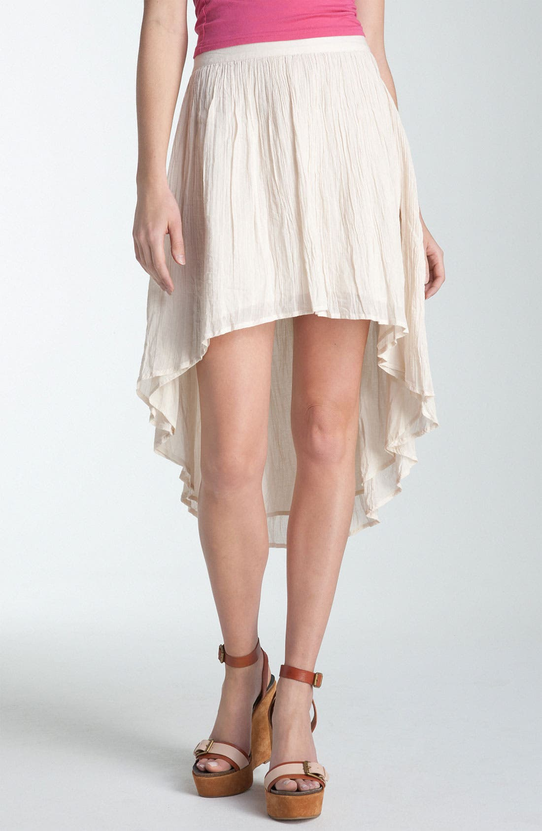 Alternate Image 1 Selected - Rubbish® Asymmetrical Hem Gauze Skirt (Juniors)