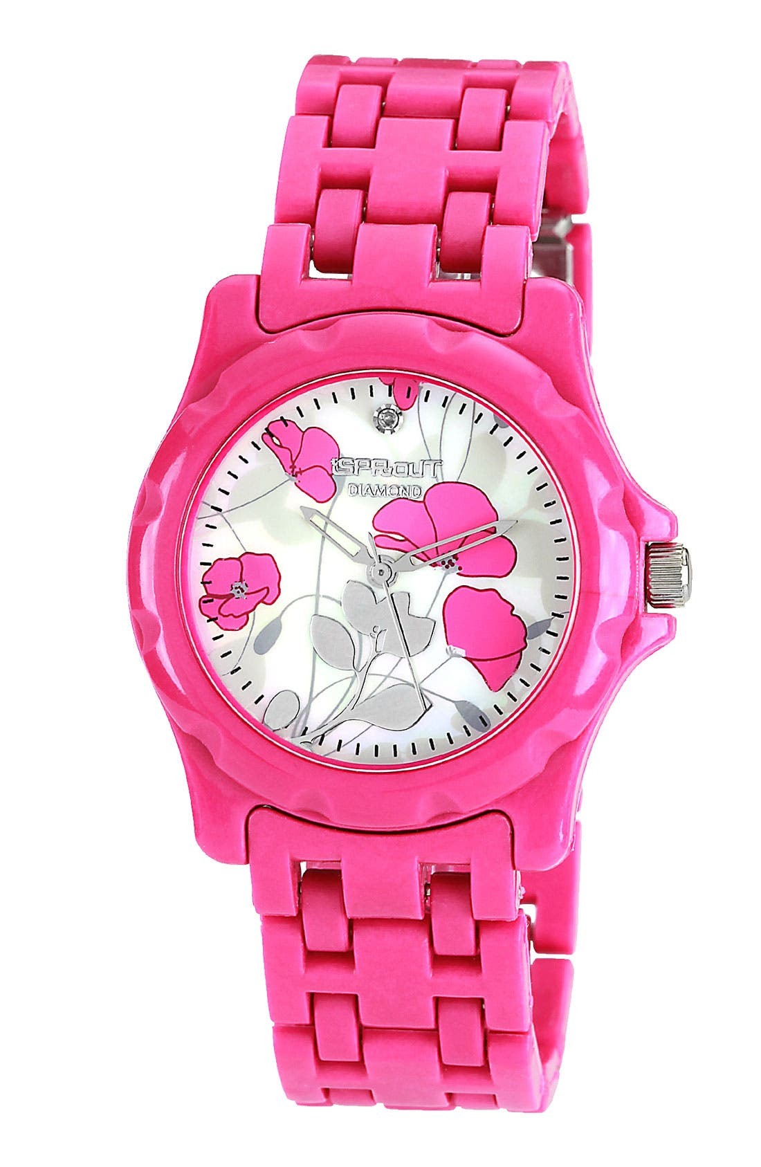 Alternate Image 1 Selected - SPROUT™ Watches Floral Dial Bracelet Watch