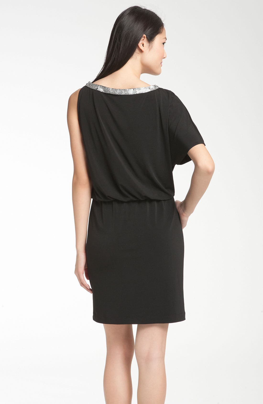 Alternate Image 2  - Donna Ricco Asymmetrical Jersey Blouson Dress