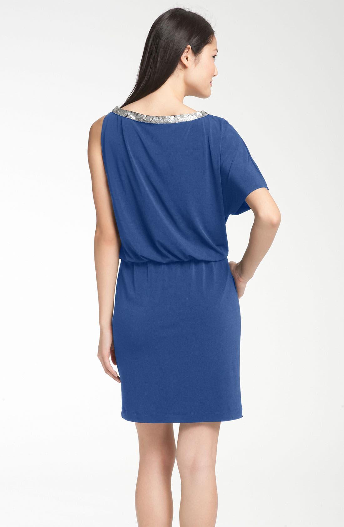 Alternate Image 2  - Donna Ricco Asymmetrical Jersey Blouson Dress