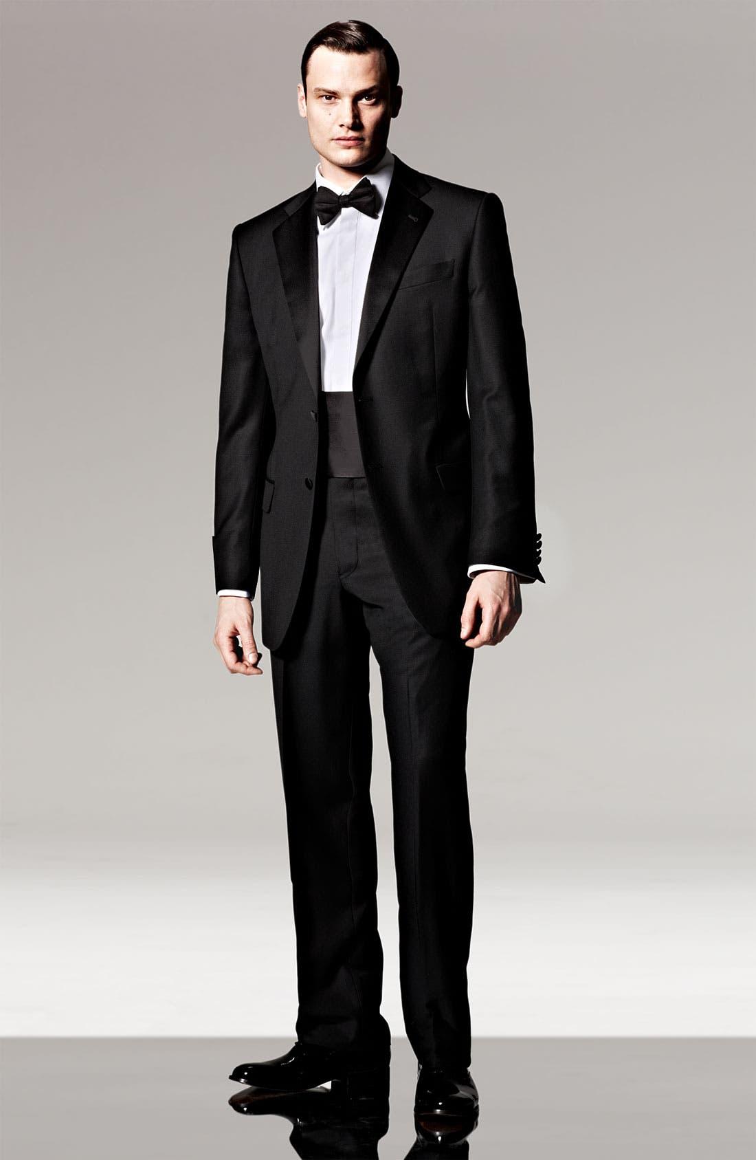 Main Image - Joseph Abboud Super 120s Wool Tuxedo & David Donahue French Cuff Tuxedo Shirt