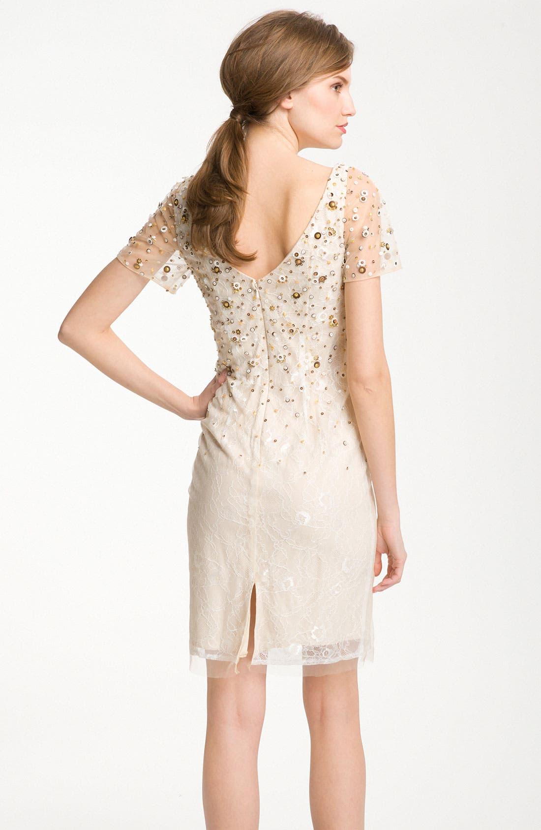 Alternate Image 2  - Kathy Hilton Sheer Sleeve Sequin Cocktail Dress