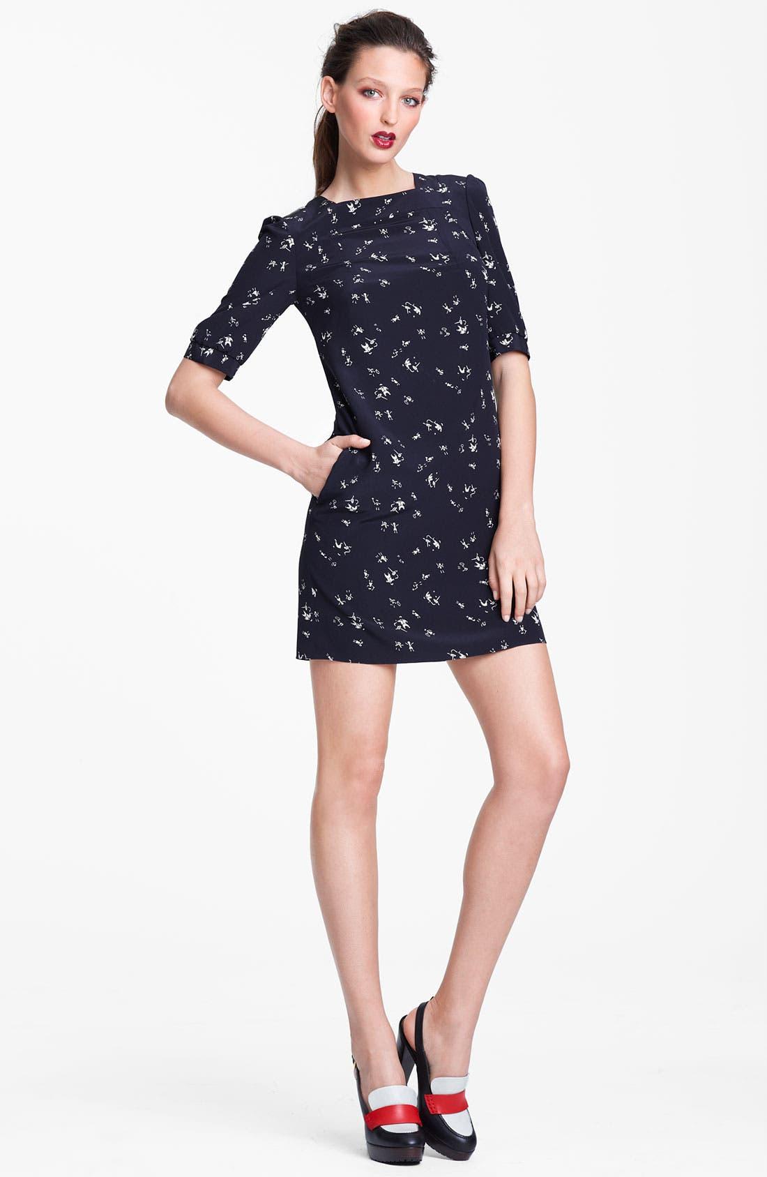 Alternate Image 1 Selected - Marni Edition People Print Square Neck Crepe Dress
