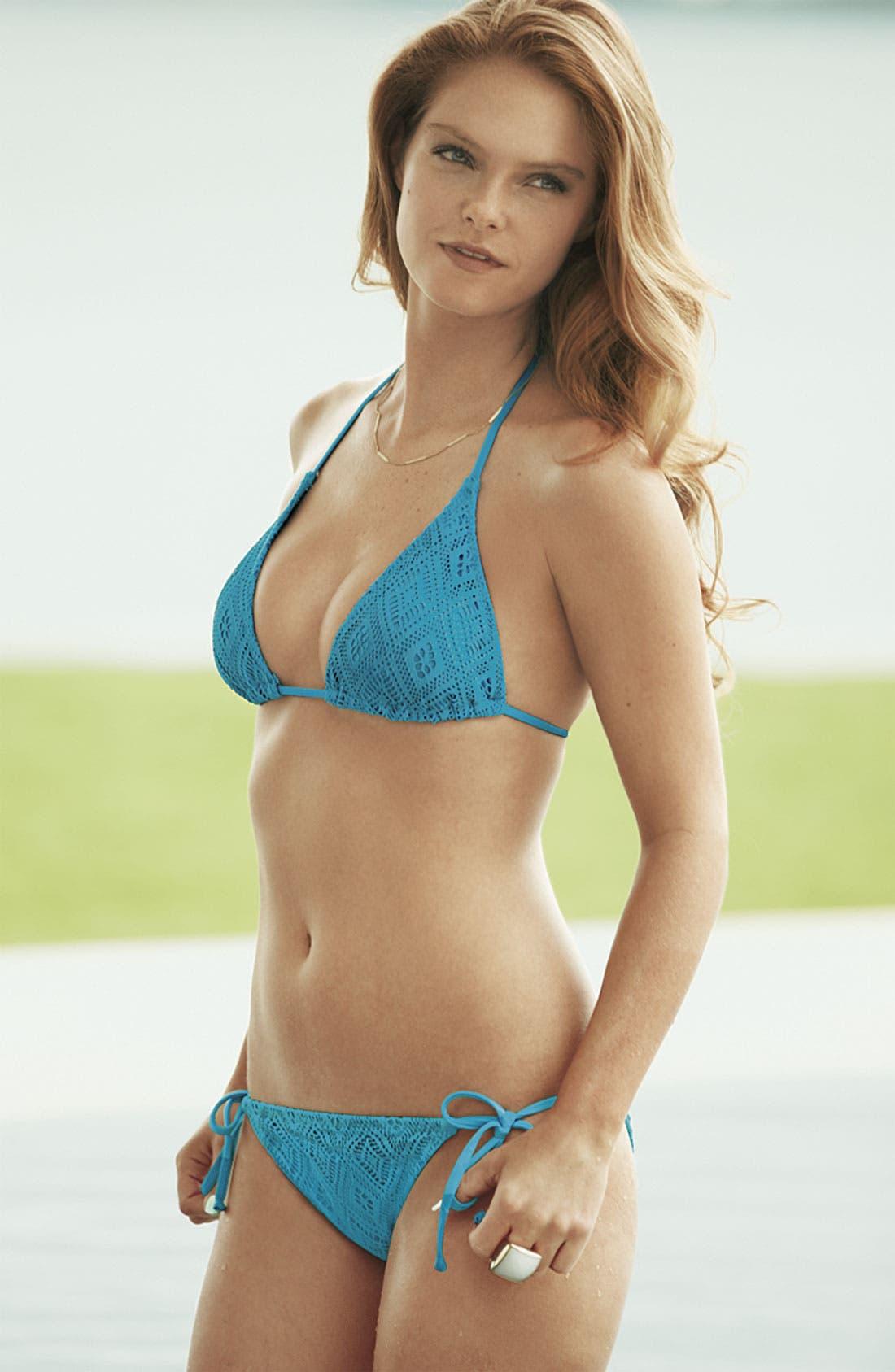 Alternate Image 5  - Becca Crochet Side Tie Bikini Bottoms
