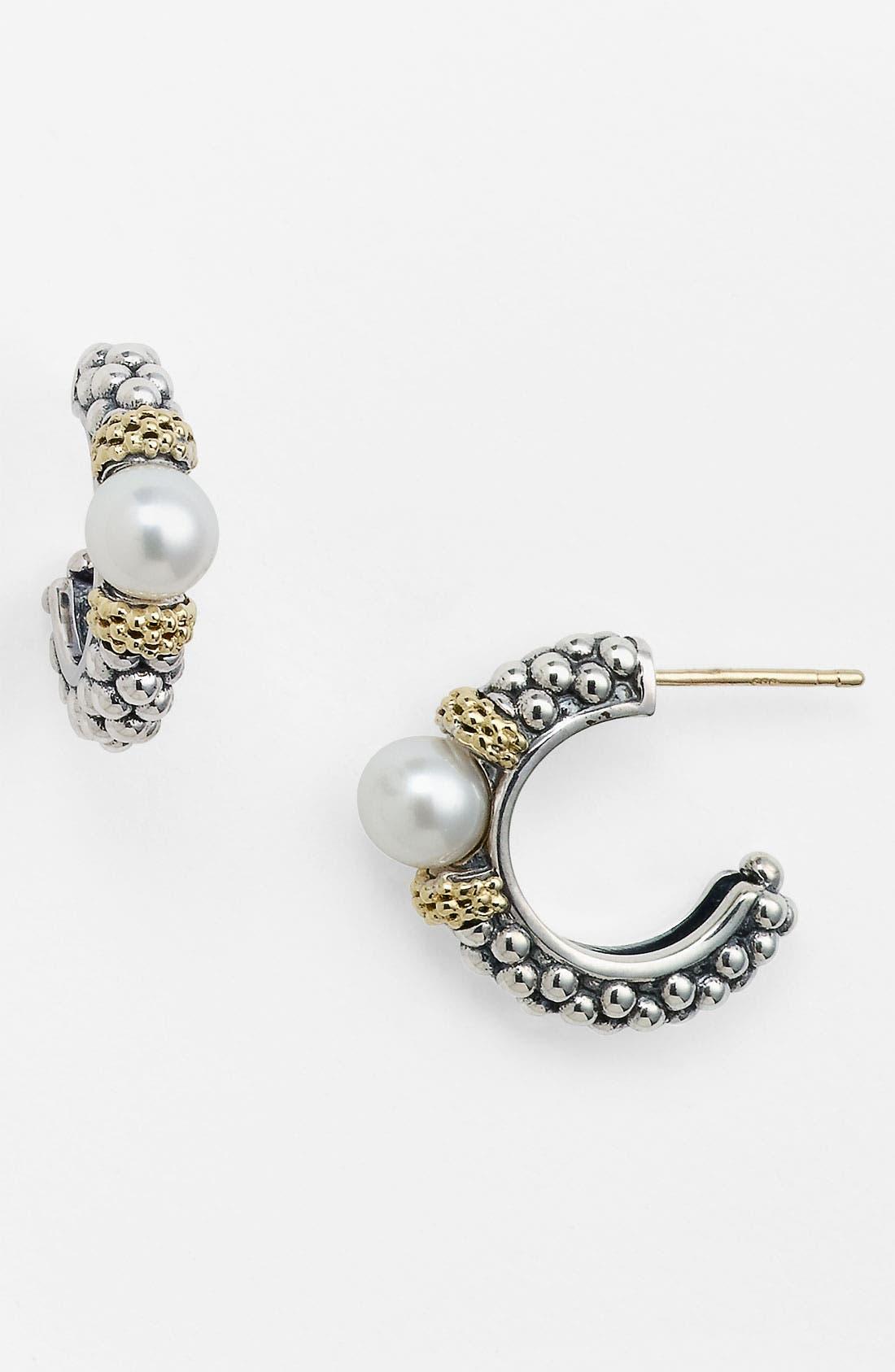 Alternate Image 1 Selected - LAGOS 'Luna Pearl' Caviar Hoop Earrings