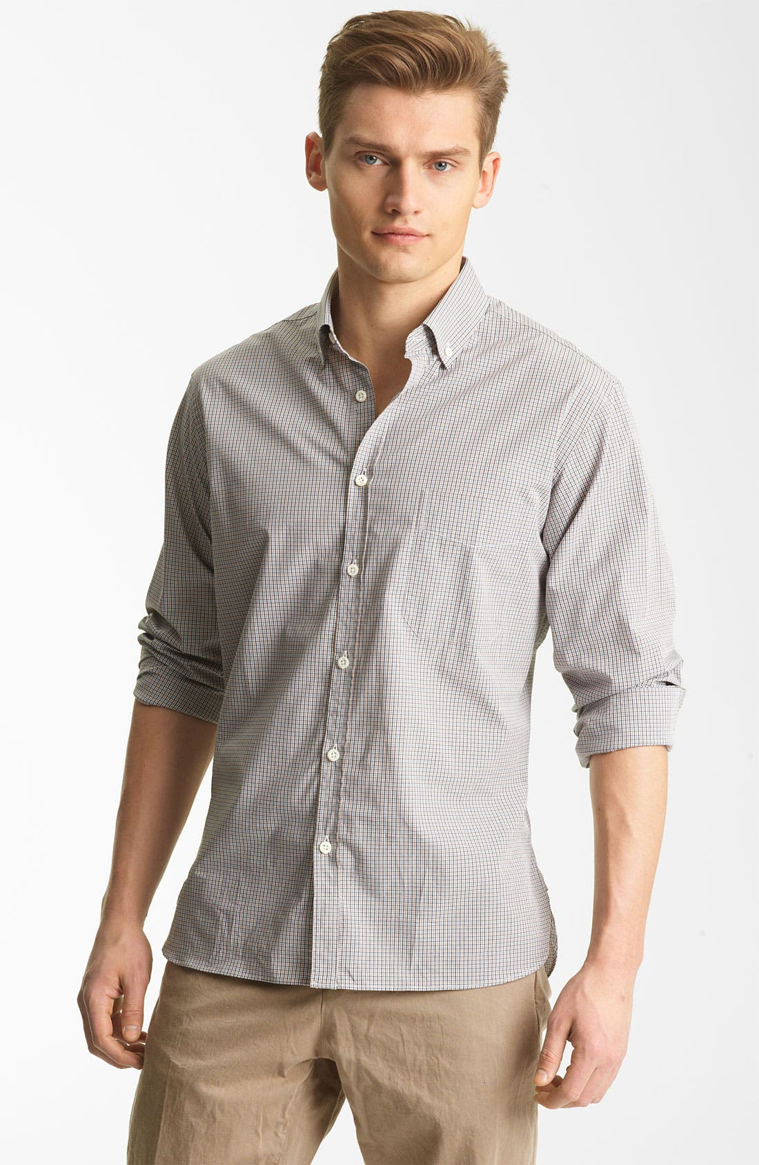 Alternate Image 1 Selected - Billy Reid 'Rosedale' Micro Check Woven Shirt