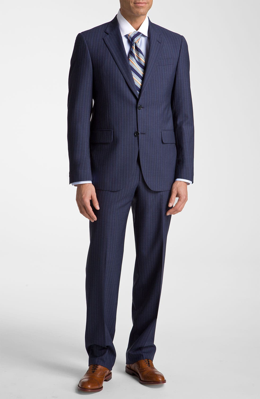 Alternate Image 2  - Robert Talbott Navy Pinstripe Wool Suit