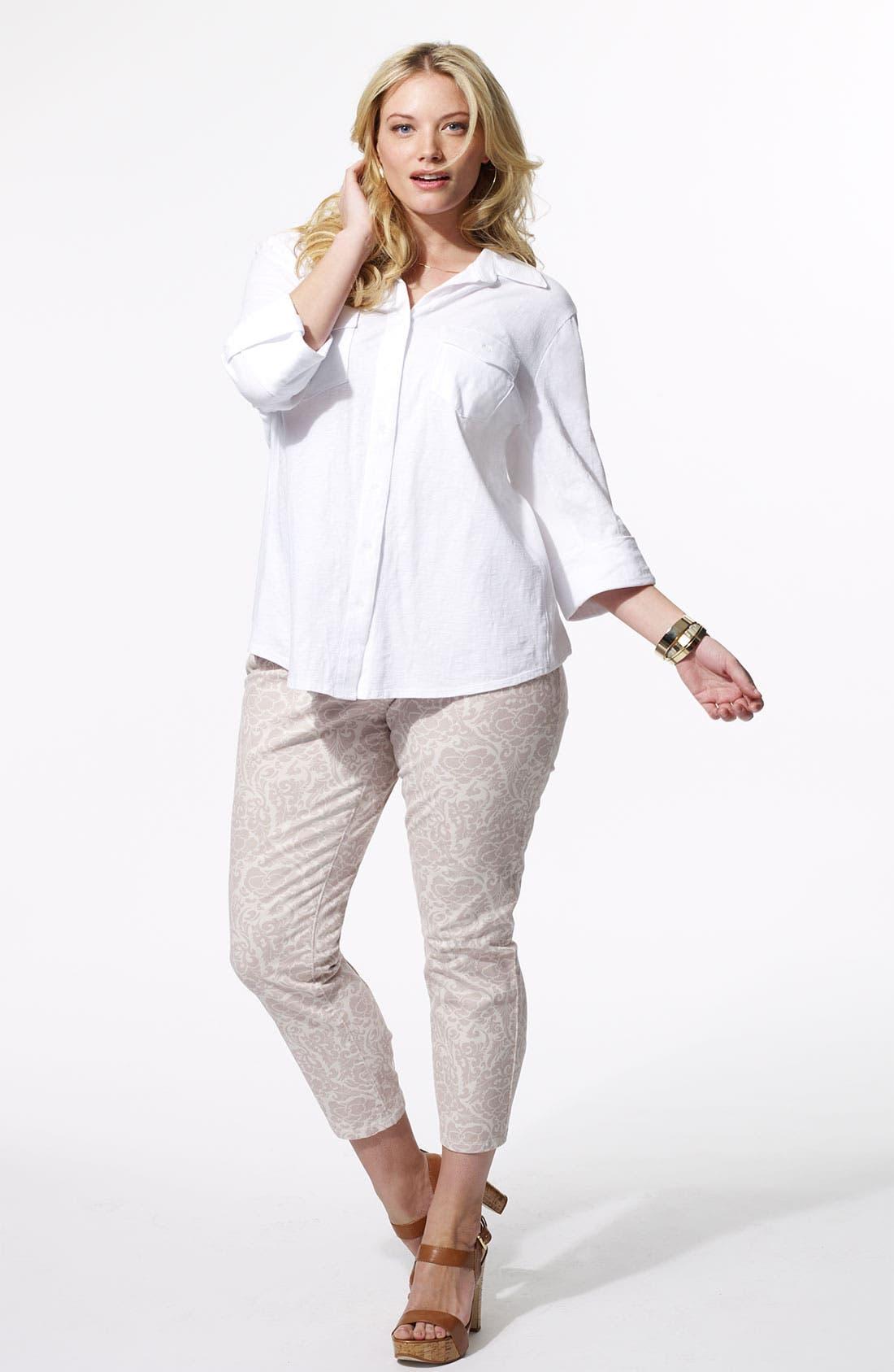 Alternate Image 4  - Sandra Ingrish Roll Sleeve Knit Shirt (Plus Size)