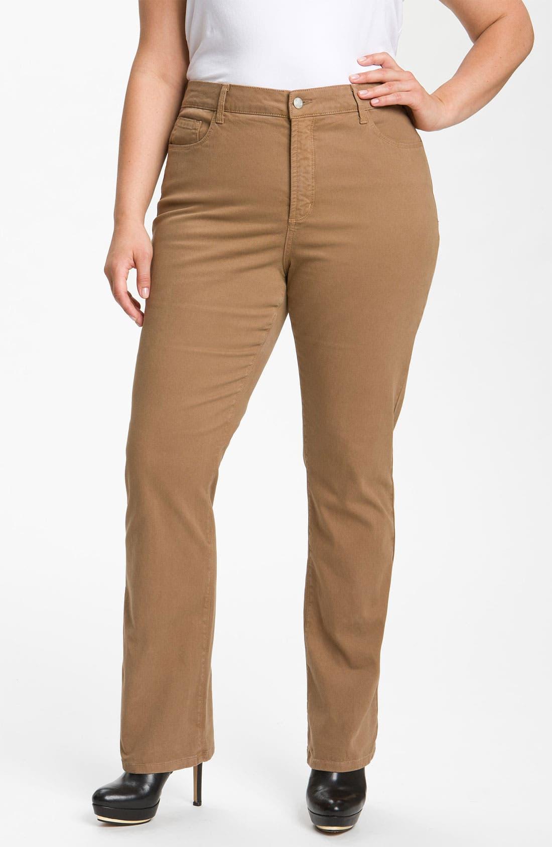 Alternate Image 1 Selected - NYDJ 'Marilyn' Straight Leg Stretch Twill Jeans (Plus)