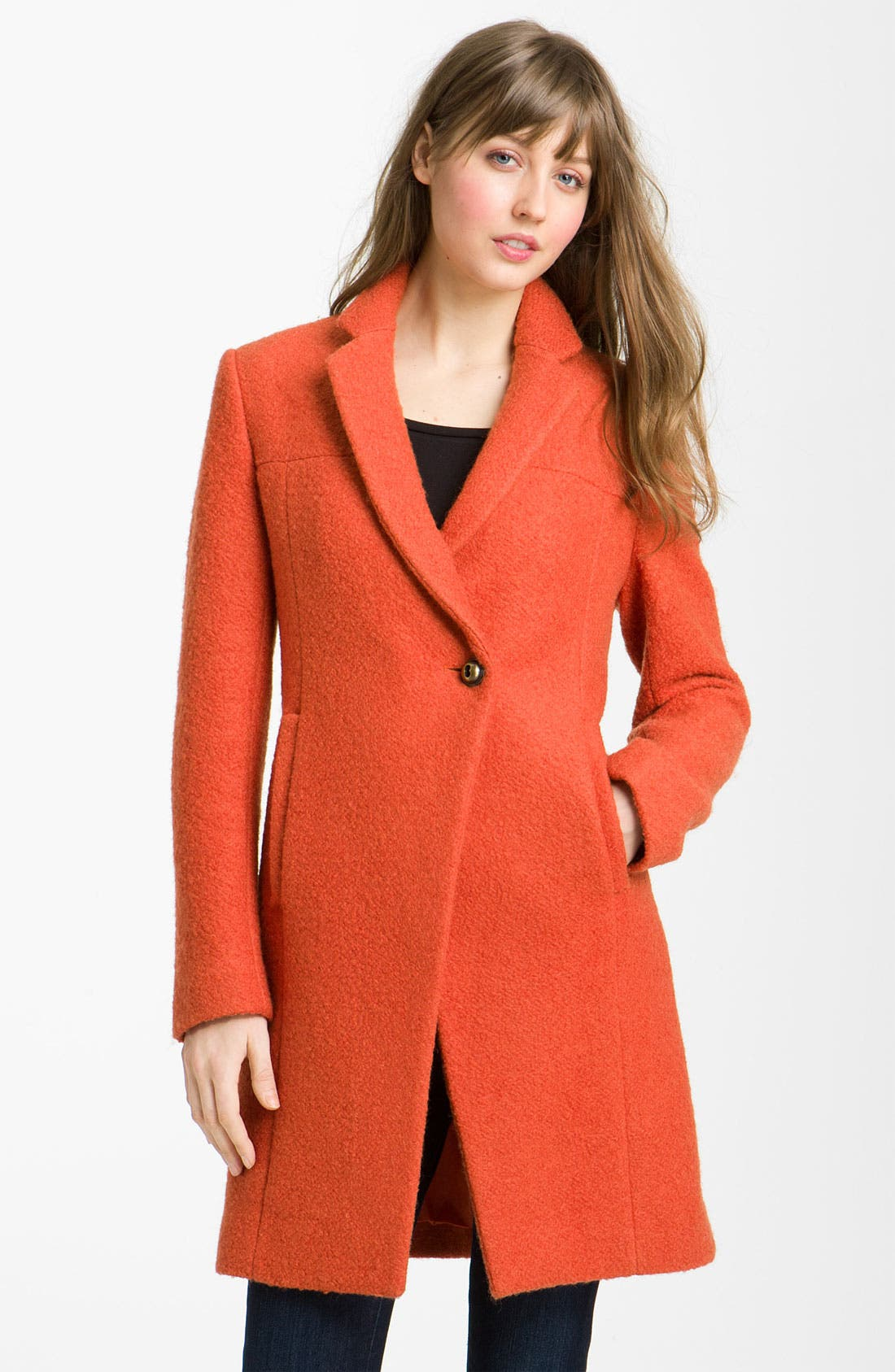 Main Image - Kenneth Cole New York Notch Collar Bouclé Coat