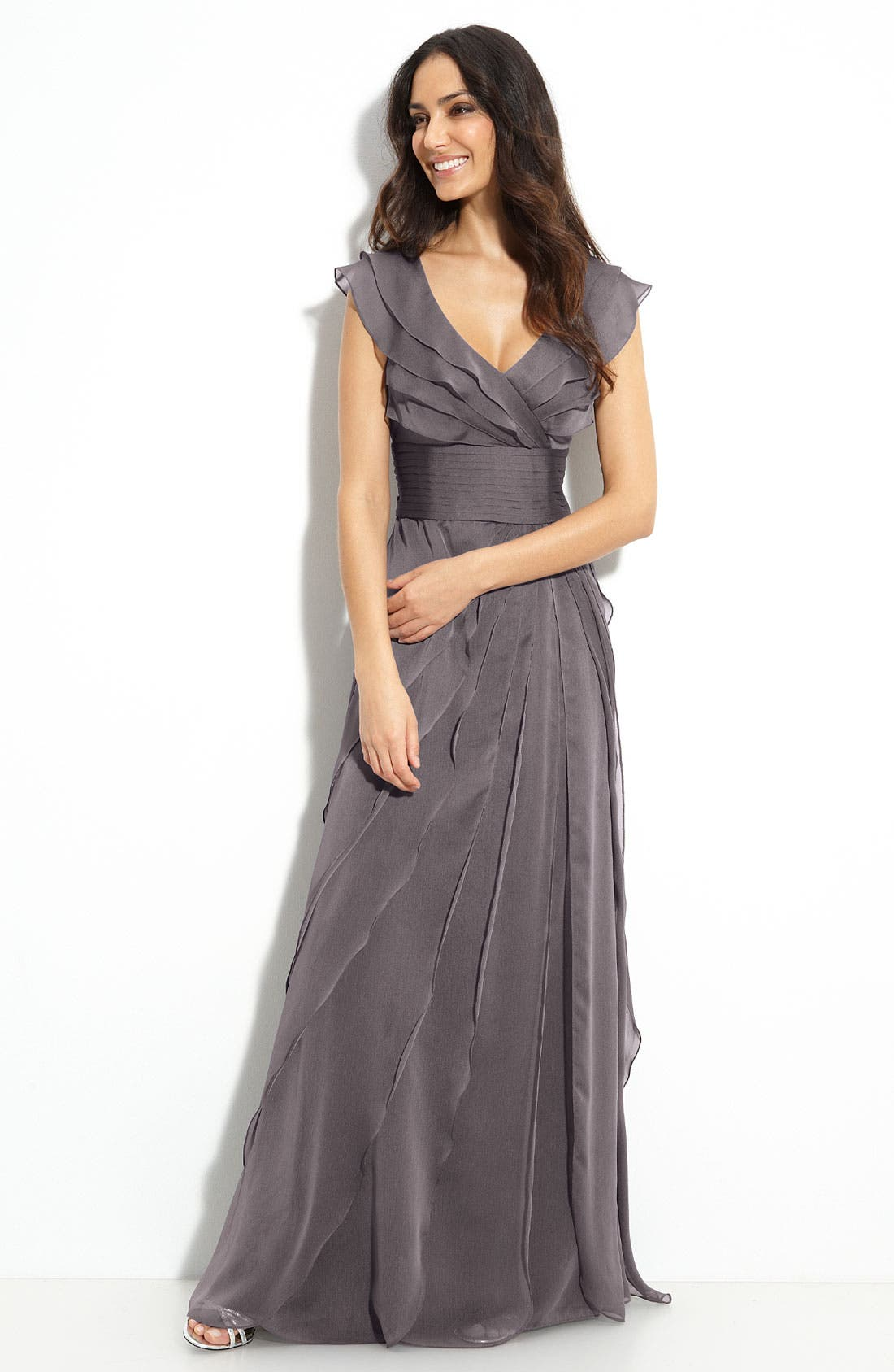 Main Image - Adrianna Papell Tiered Chiffon Gown (Petite)