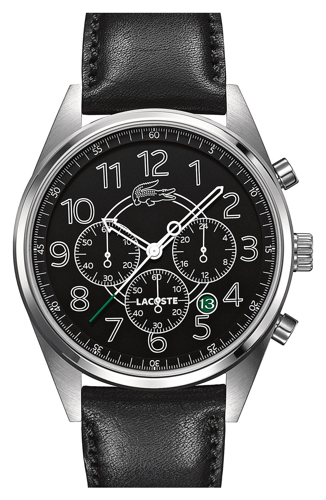 Alternate Image 1 Selected - Lacoste 'Zaragoza' Chronograph Leather Strap Watch