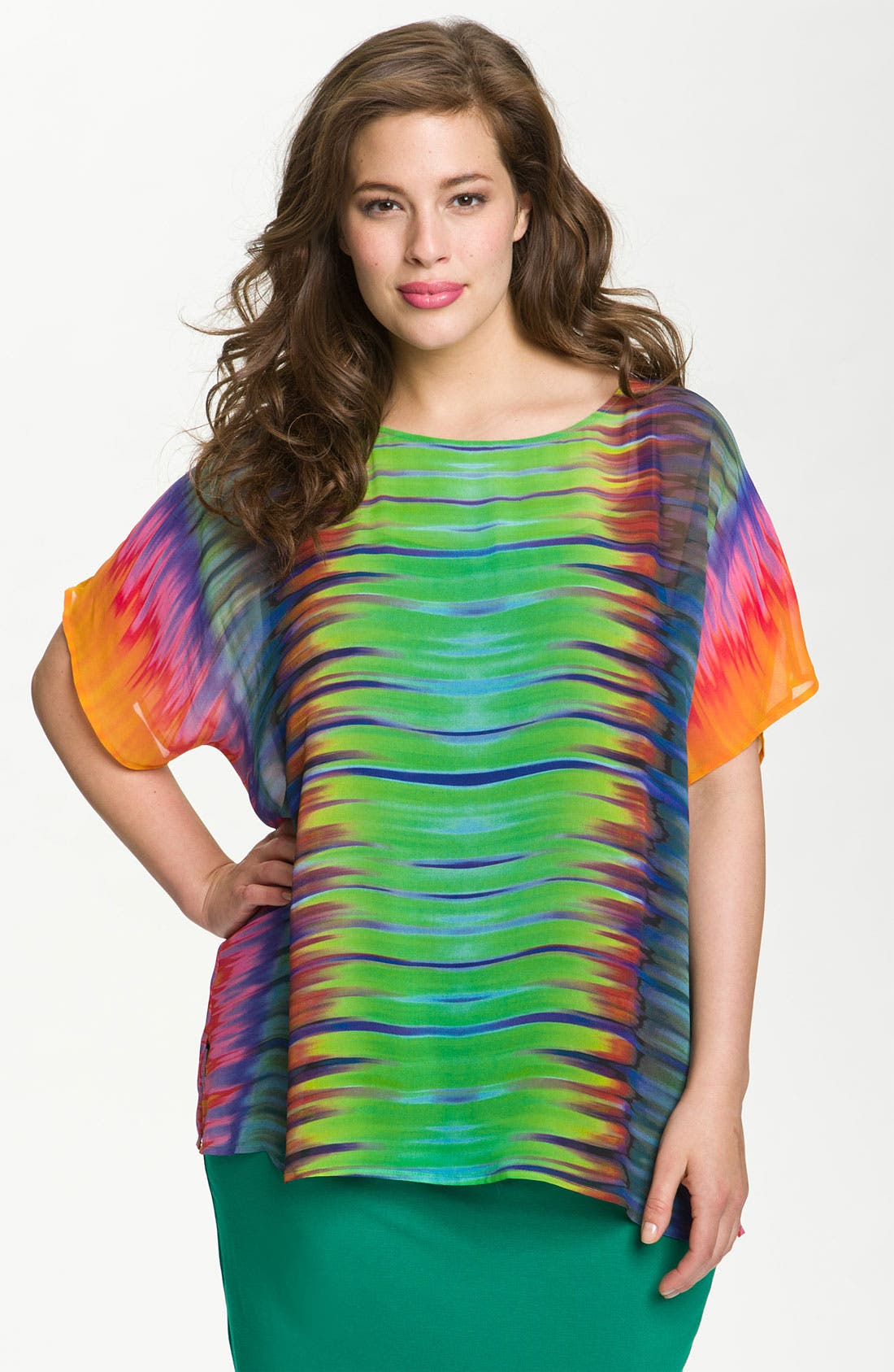 Alternate Image 1 Selected - Vince Camuto 'Sheer Mirror' Blouse (Plus)