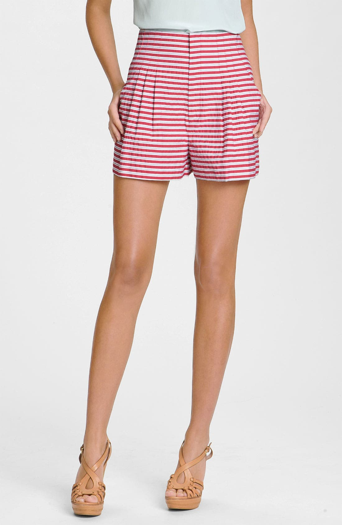 Alternate Image 1 Selected - Nanette Lepore 'Gold Rush' Striped Pleated Shorts