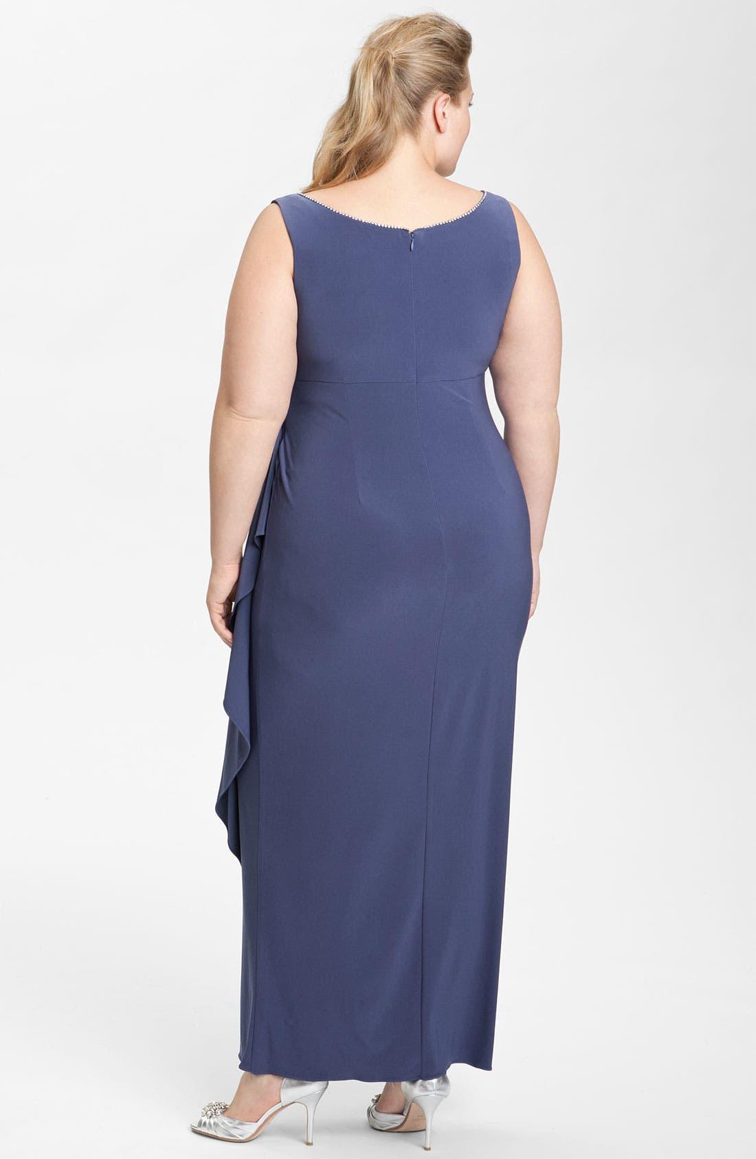 Alternate Image 2  - Alex Evenings Rhinestone Jersey Dress & Bolero (Plus)