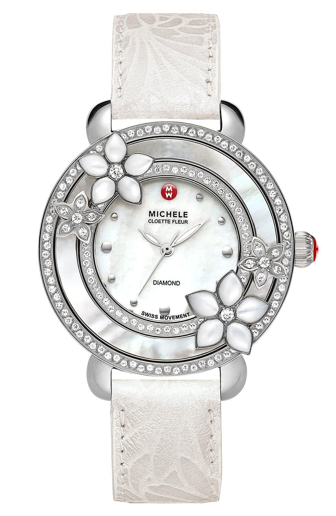 Alternate Image 3  - MICHELE 'Cloette Fleur' Diamond & Mother-of-Pearl Watch Case, 38mm