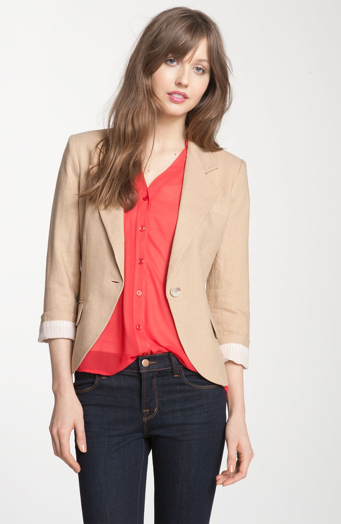 Alternate Image 1 Selected - Gibson Linen One Button Blazer (Petite)