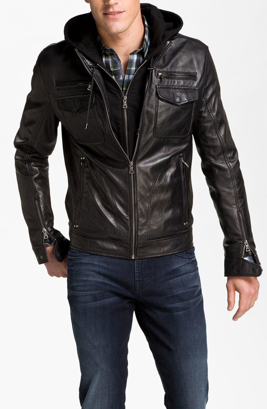Alternate Image 1 Selected - 7 Diamonds 'Manila' Trim Fit Leather Jacket