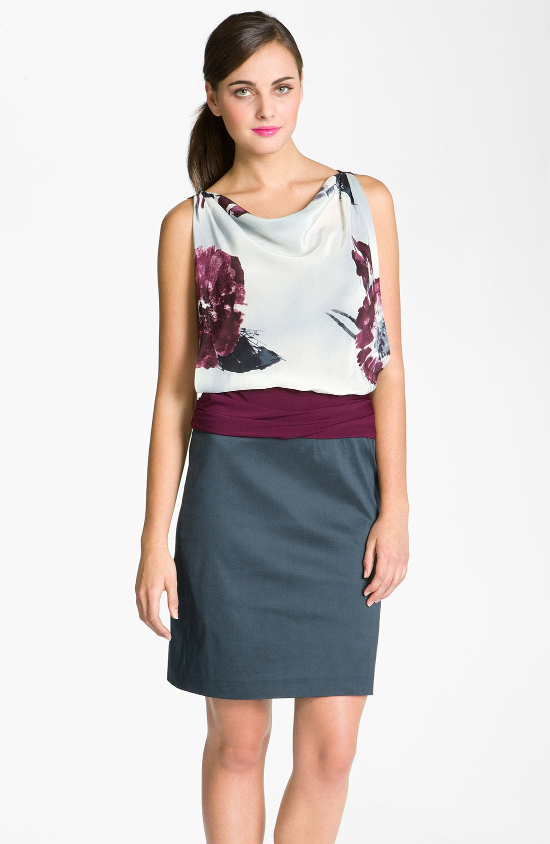 Alternate Image 1 Selected - Suzi Chin for Maggy Boutique Draped Mixed Media Dress