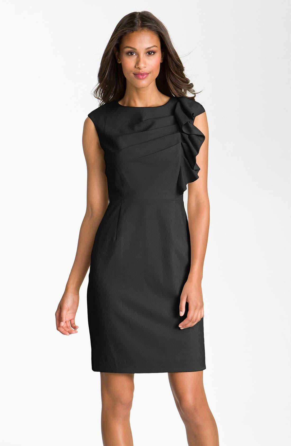 Alternate Image 1 Selected - Calvin Klein Side Ruffle Woven Sheath Dress
