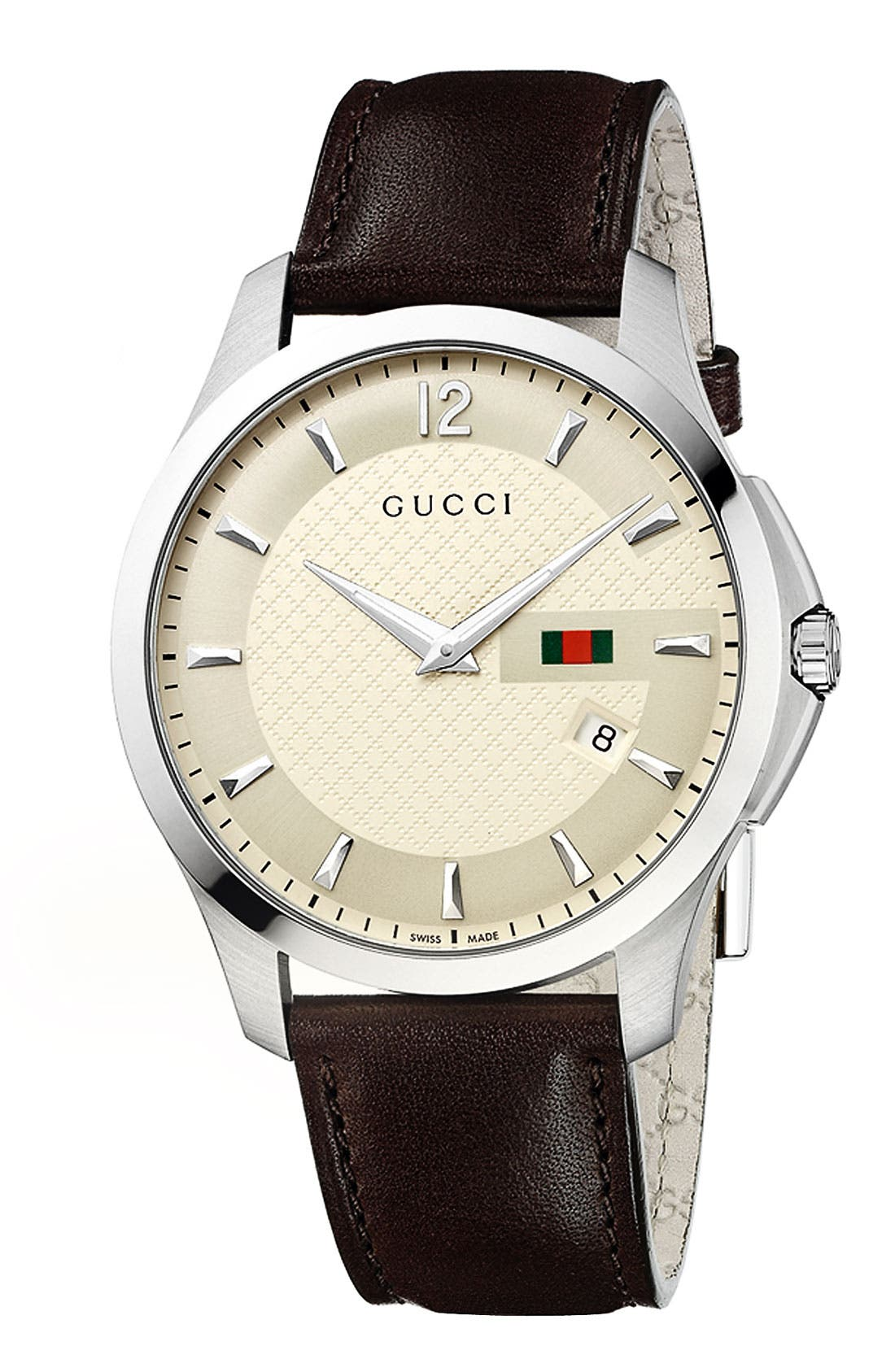 Alternate Image 1 Selected - Gucci 'G Timeless' Leather Strap Watch, 40mm