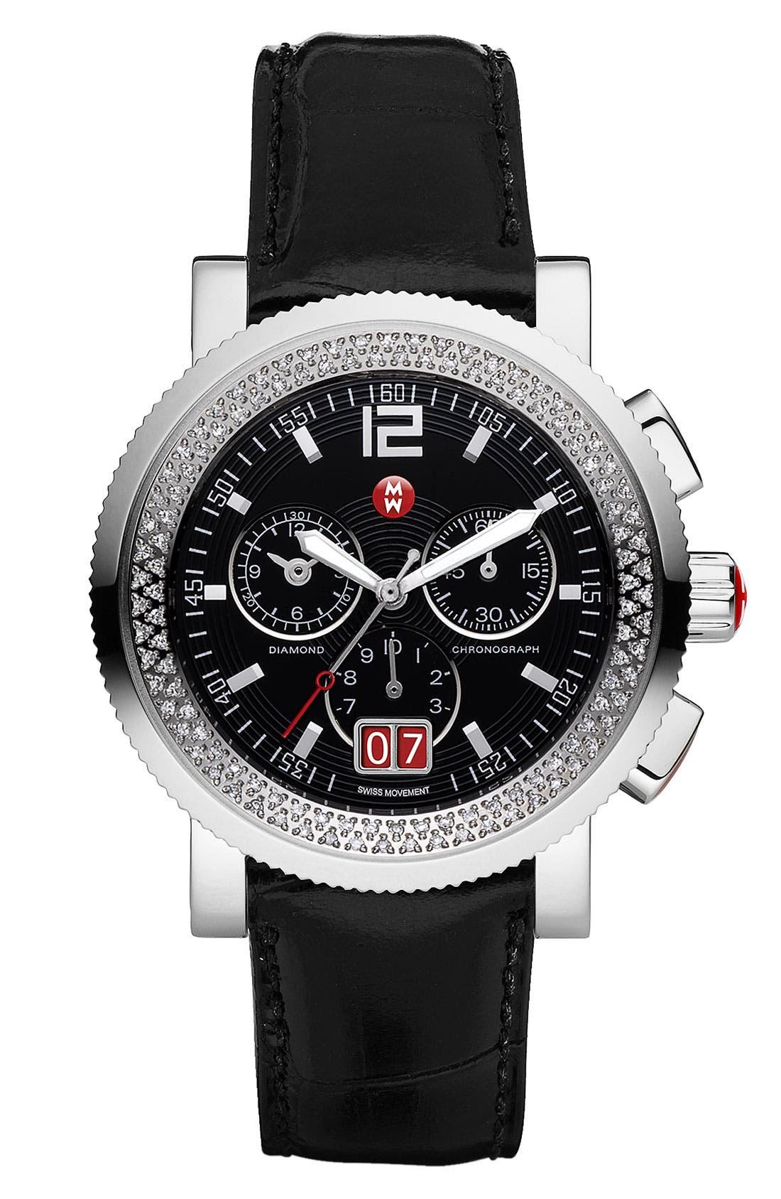 Alternate Image 3  - MICHELE 'Sport Sail - Large' Diamond Black Dial Watch Case