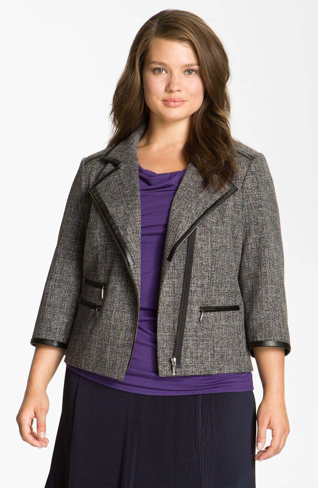 Alternate Image 1 Selected - Sejour Faux Leather Trim Jacket (Plus)