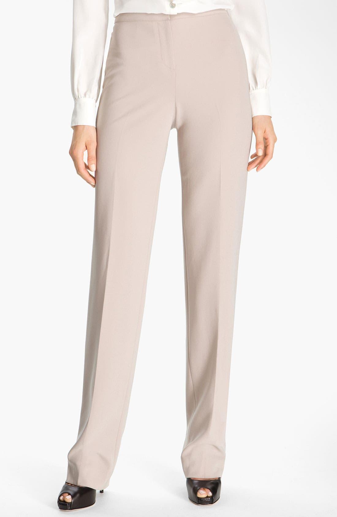 Alternate Image 2  - St. John Collection Straight Leg Crepe Marocain Pants
