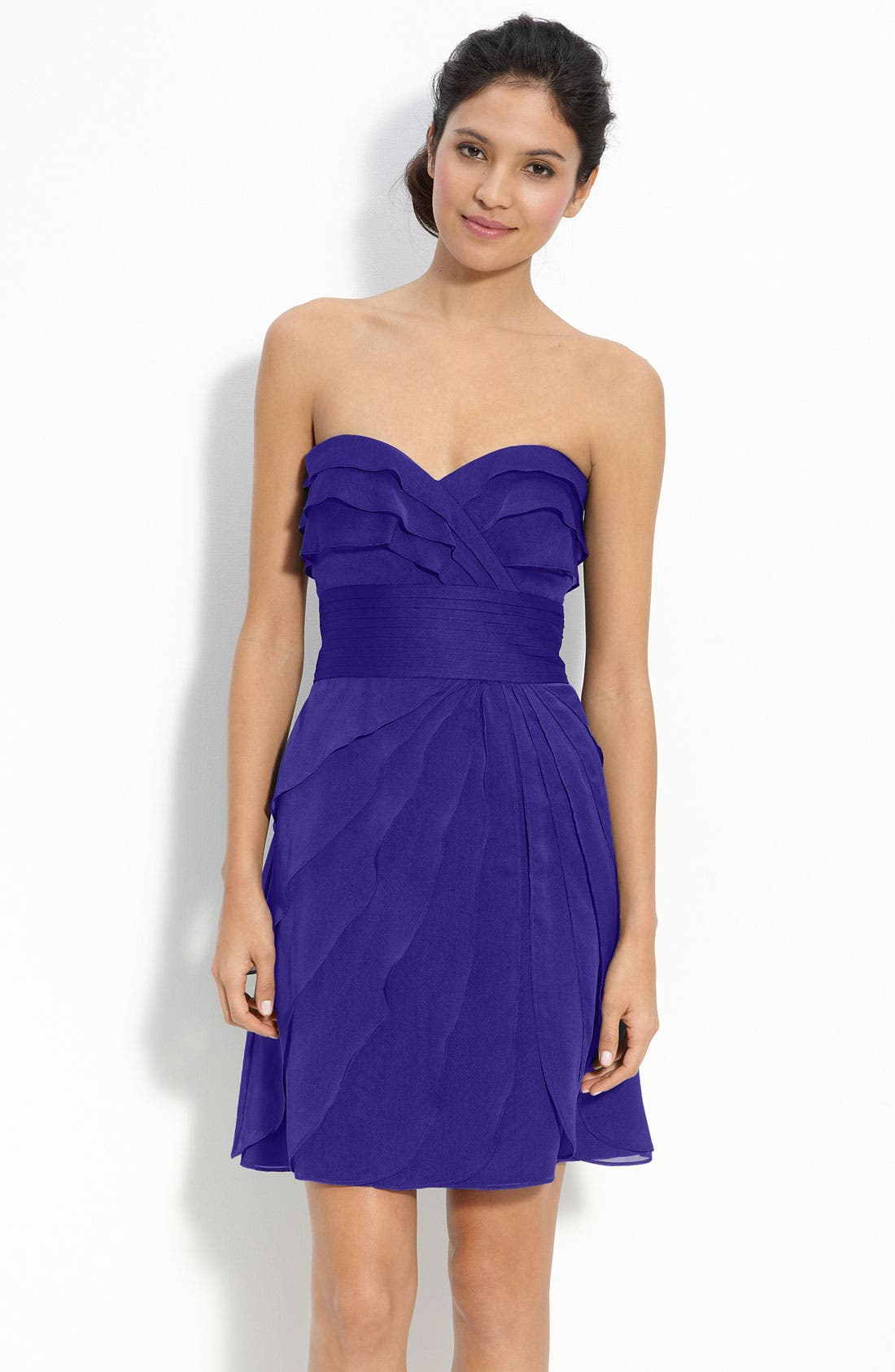 Main Image - Adrianna Papell Tiered Iridescent Chiffon Dress (Petite)