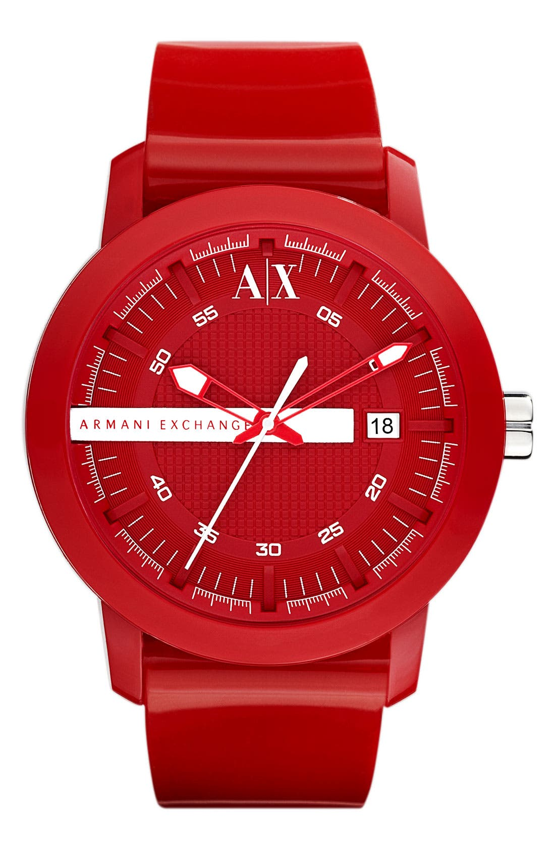 Main Image - AX Armani Exchange Rubber Strap Watch, 44mm