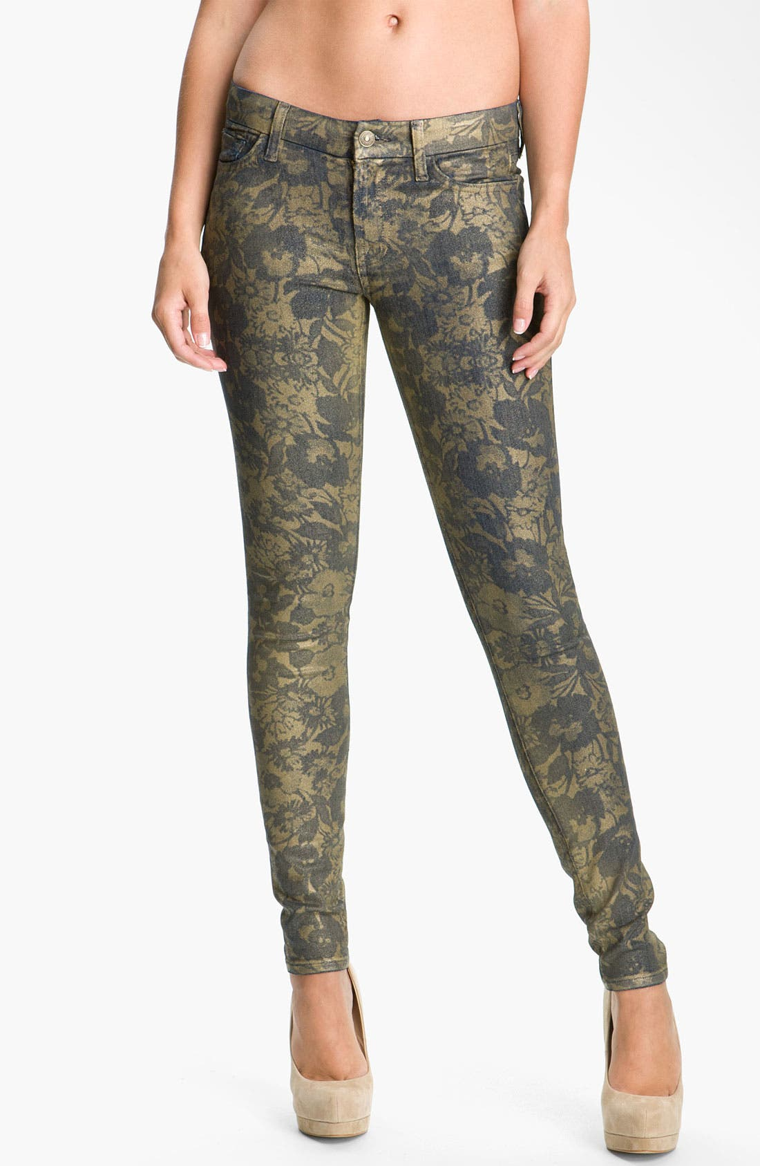 Main Image - 7 For All Mankind® 'The Skinny' Skinny Stretch Jeans (Laser Gold Foil)