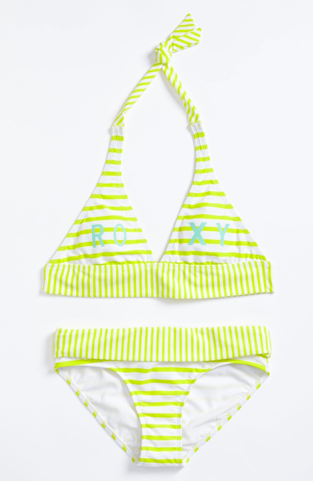 Main Image - Roxy 'Shoreline' Reversible Two Piece Swimsuit (Big Girls)