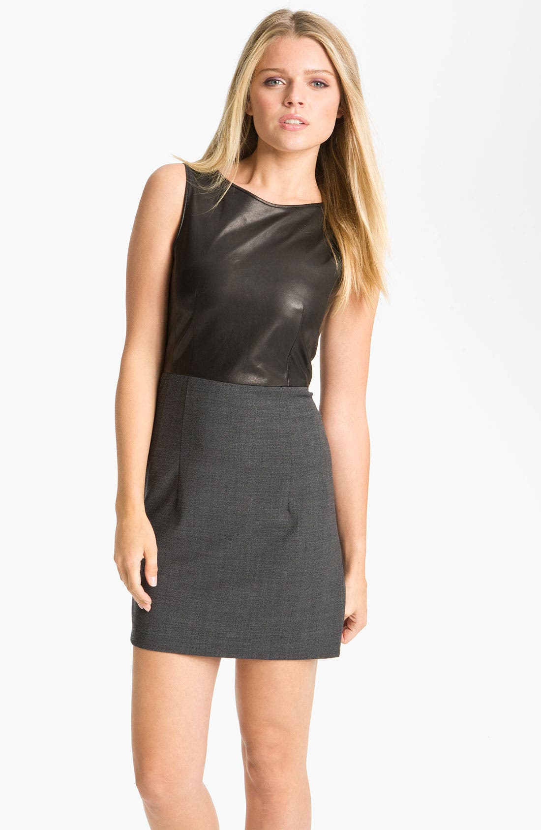 Alternate Image 1 Selected - Theory 'Tirionne C. - Majestrate' Leather & Wool Sheath Dress