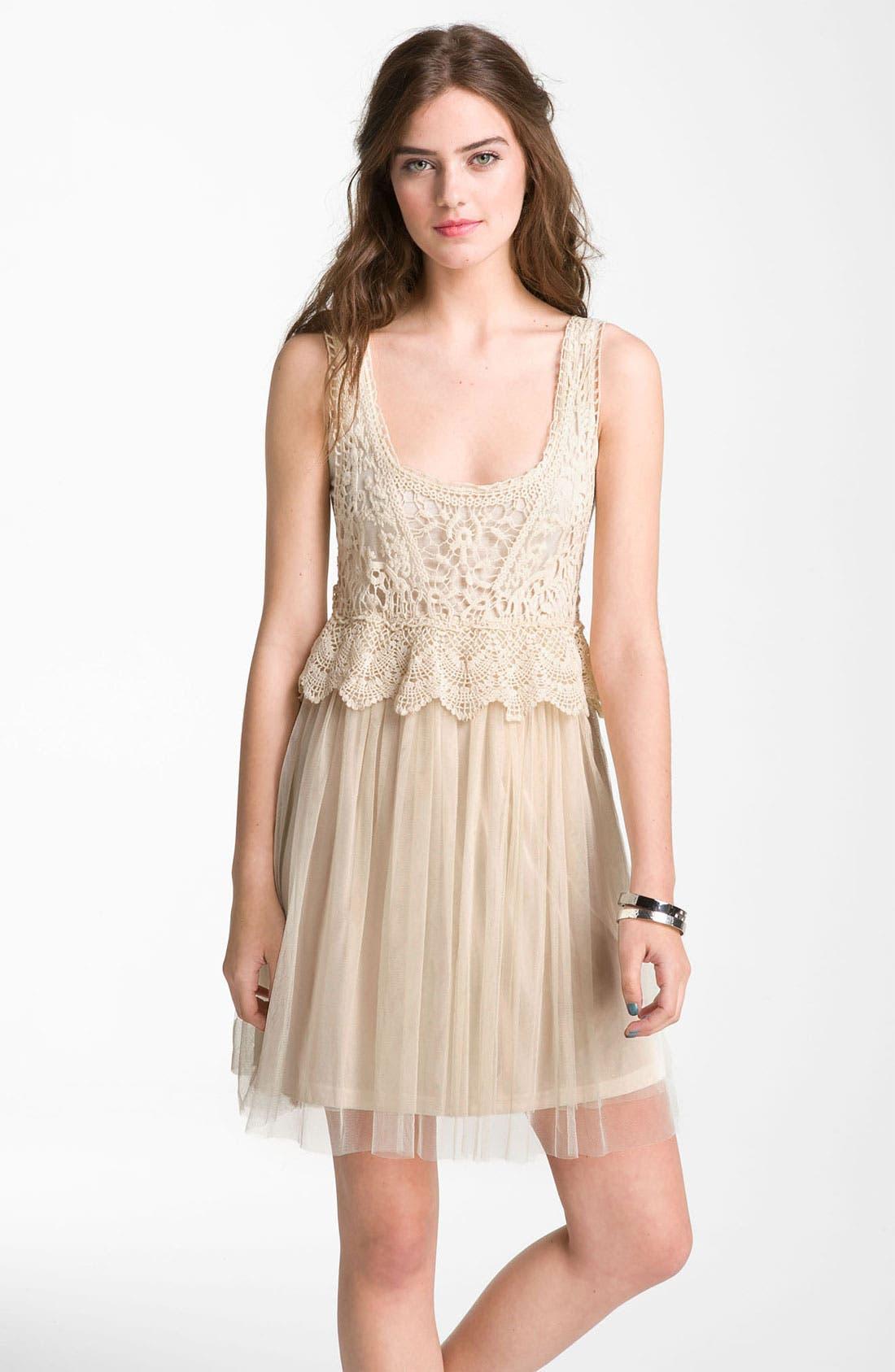 Main Image - Fire Crochet Tulle Dress (Juniors)