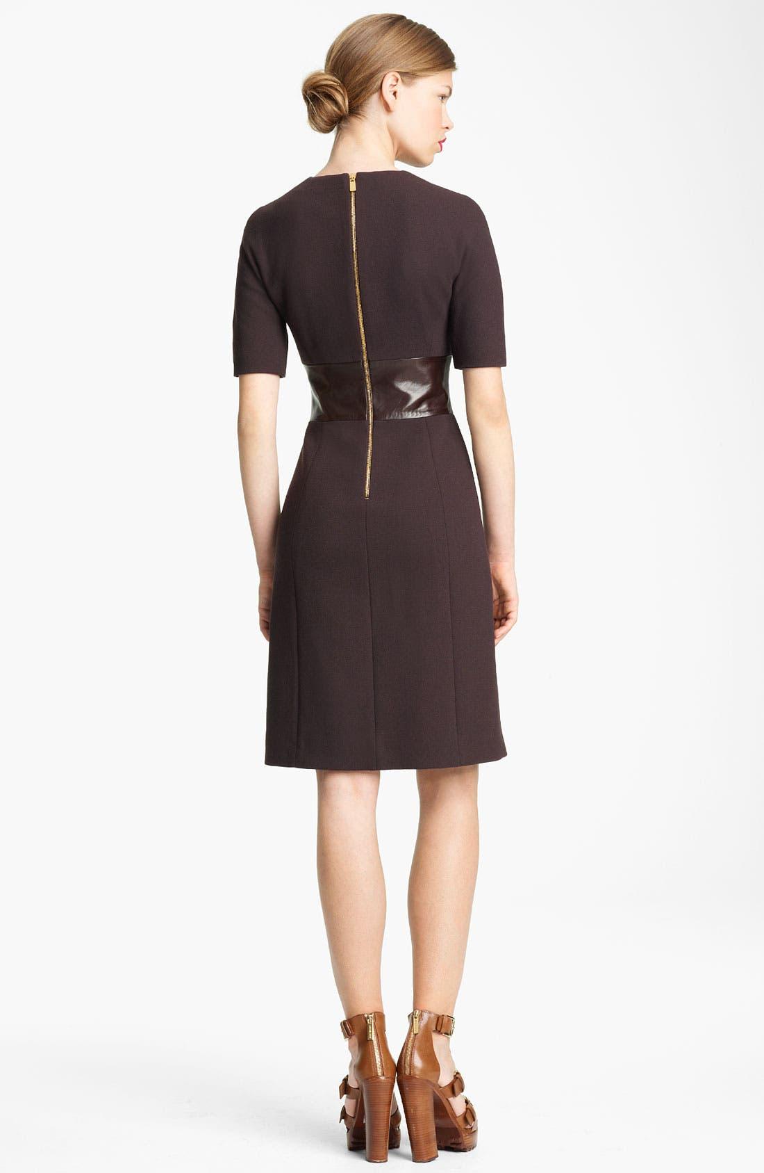Alternate Image 2  - Michael Kors Leather Waist Bouclé Crepe Dress