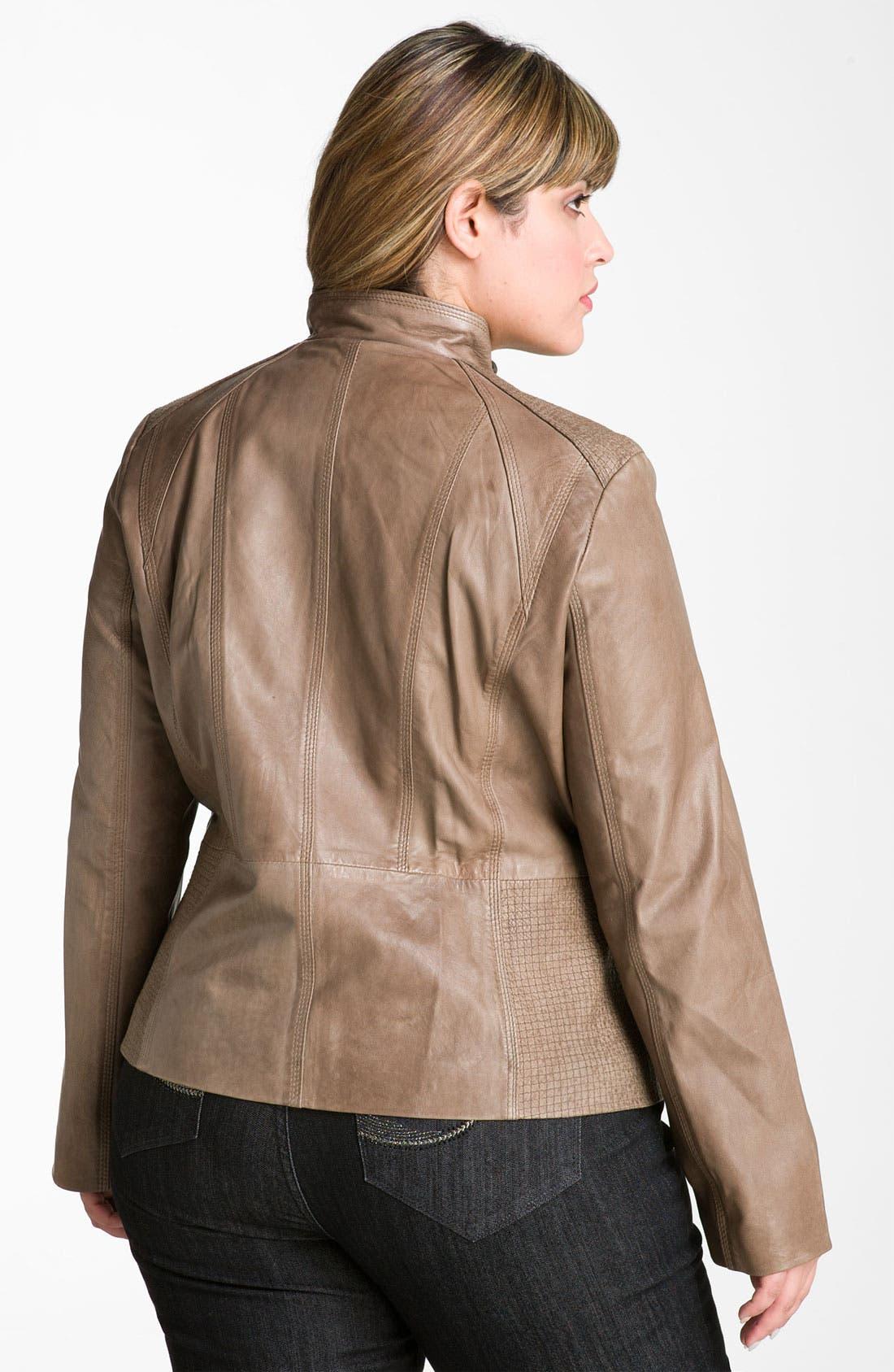 Alternate Image 2  - Bernardo Topstitch Leather Scuba Jacket (Plus)