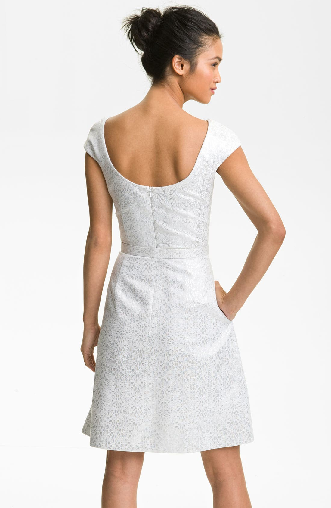 Alternate Image 2  - Theia Cap Sleeve Jacquard Fit & Flare Dress