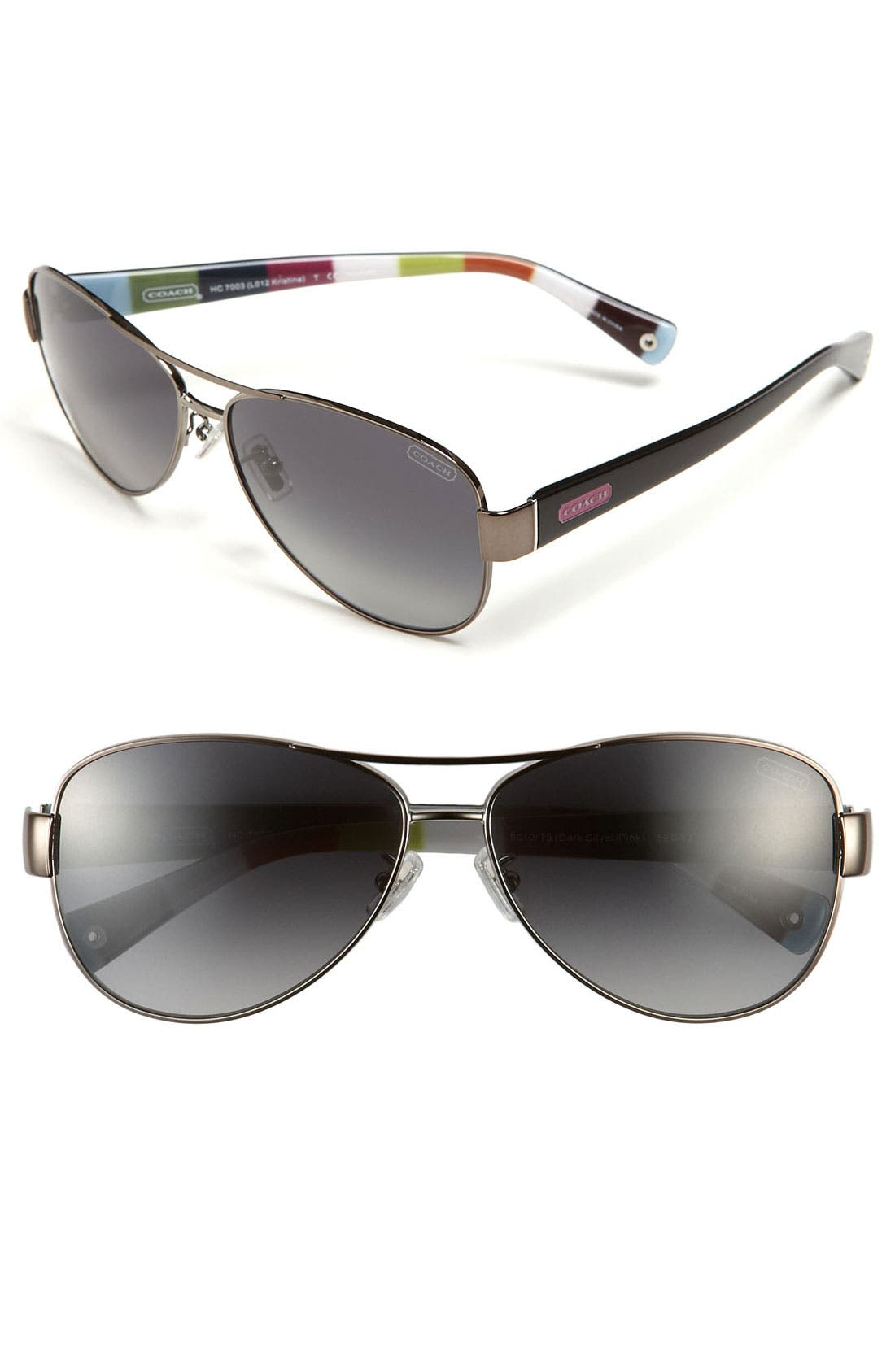 Main Image - COACH Polarized Metal Sunglasses