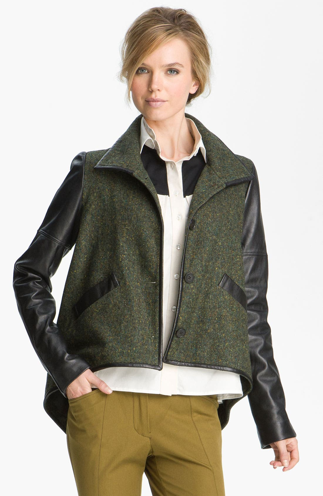 Main Image - Derek Lam 10 Crosby Leather Sleeve Jacket