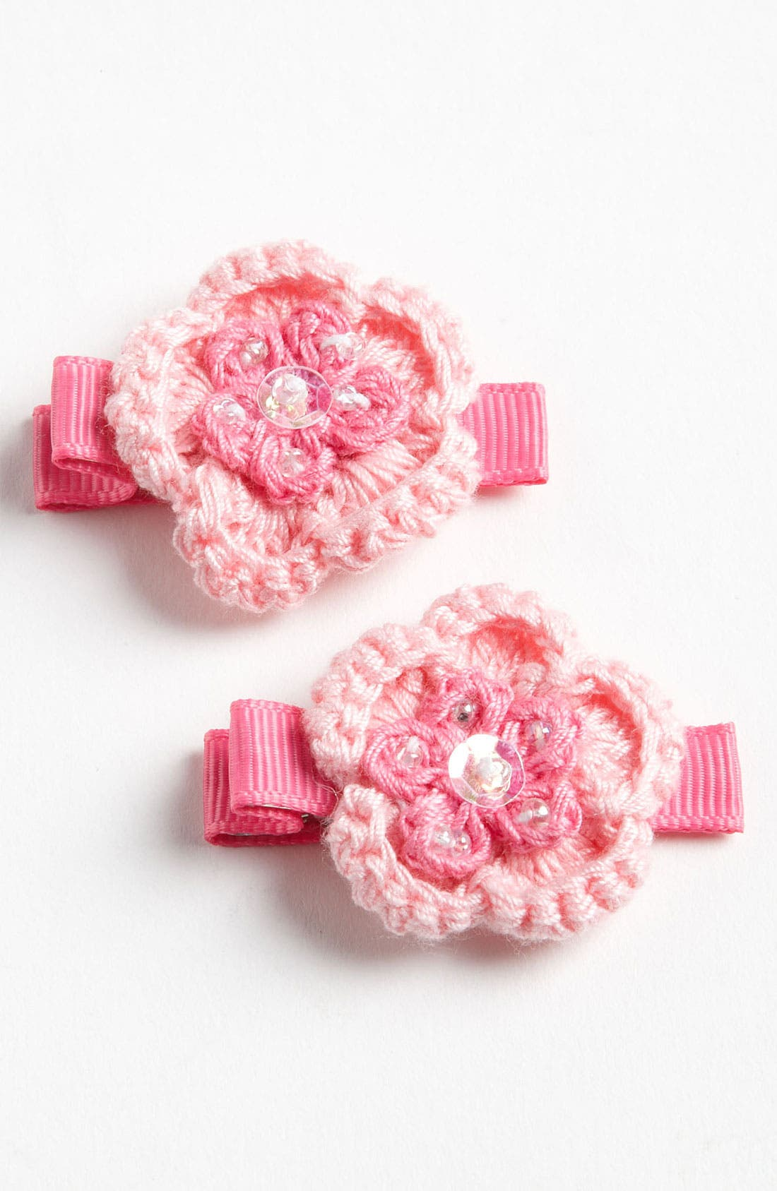 Main Image - PLH Bows & Laces Crochet Hair Clips (Set of 2) (Toddler)