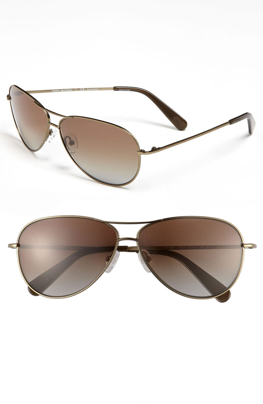 Alternate Image 1 Selected - Tory Burch 60mm Polarized Aviator Sunglasses